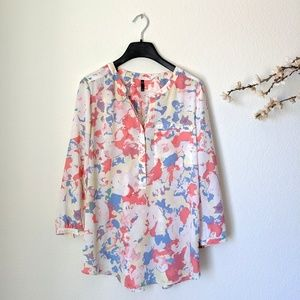 NYDJ Drapey Tunic Loose Blouse Floral Spring Pink